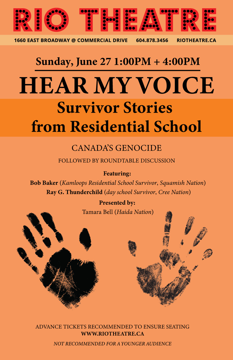 Hear My Voice: Survivor Stories From Residential School & Canada's Genocide *Rush Seating Only